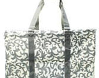 Large Collapsible Utility Tote with zipper top Grey and White demask design Great for Tailgating, Beach Graduation Gift These fold down flat