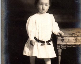 Vintage Photo - Child in White with Belt - Vernacular, Ephemera, Found Photo (C)