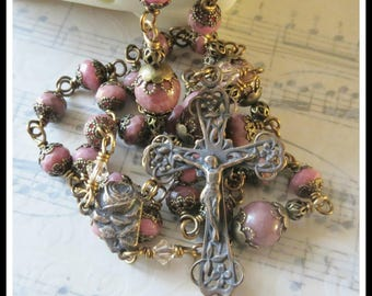 Handmade Catholic Rosary in Pink Rhodonite Wire Wrapped in Bronze, High Qualtiy Rosary, Unbreakable Rosary