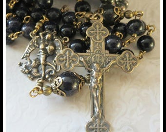 Bronze St. Michael Rosary in Blue Goldstone, Catholic Patron Saint of Police Officers