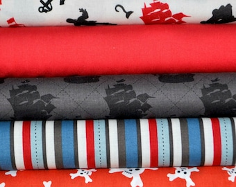 Pirate Matey's Red 5 Fat Quarters Bundle by Emily Taylor Designs for Riley Blake