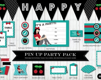 Vintage Pin Up Package, Birthday Party Decorations, DIY Party, Pin Up Vintage, Retro, Rockabilly, Ladies, Cherry RED