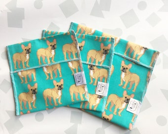 Reusable Ecofriendly Sandwich Bag and Snack Bags - frenchies - set of 3