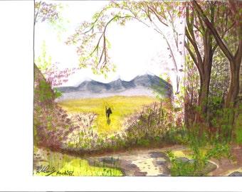The Hiker Watercolor Print