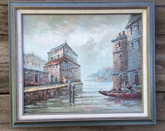 ROMANTIC VENICE, ITALY ~ 1960's Oil on Canvas, Signed Painting ~ Framed Ready to Hang.