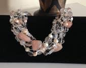 CRAZY SALE:  Ashira Formal, Wedding, Bridal - Rock Crystal, Rare Raw Peach Peruvian Opal Freeform Statement Necklace - Convertible
