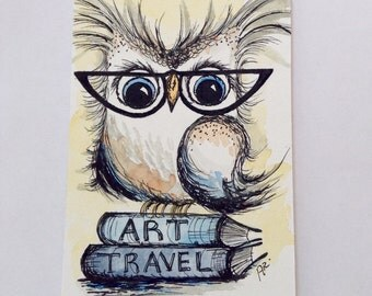 Art and Travel, Original Pen and Ink Drawing with Watercolor, School Owl, Painting 4x6