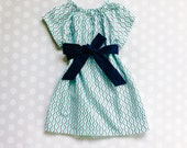 mother daughter set Girl's Navy and Teal Dress - Geometric Print - Wave Print