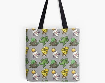 Final Fantasy Moogle Cactuar Chocobo Tonberry Pattern Tote Bag Polyester Fabric