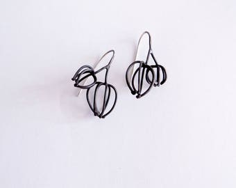 tiny couple wireframed physalis earrings, abstracted form dangle earrings