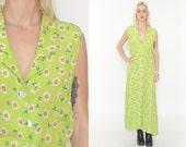 DAISY PRINT Long Sundress. Vintage 90's FLORAL Dress. Button Front. Floral Print. 90's Grunge Long Dress. 70's Boho Mod Grunge. Size Sm/Med