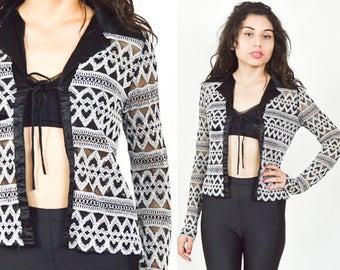 BLACK WHITE PATTERN Mesh Shirt. Black Satin Collar. Long Sleeves. Textured Crop Shirt. Vintage 90's Grunge. Tie Closure. Size Small Medium