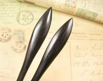 A Pair of Handmade Ebony Hair Stick