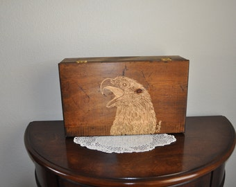 Eagle  hand Carved Wooden Box