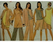 Culotte Pattern, Wide Shorts, Pullover Top, Loose Jacket, Tunic, Sleeveless, Scoop Neck, Open Jacket, Vogue No. 1175 UNCUT Size 14 16 18