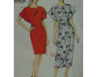 Dramatic Dress Pattern, Open Cape Sleeves, Jewel Neck, Party Dress, Straight Skirt, Vogue V9021 UNCUT Size 14 16 18 20 22