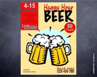 Happy Hour Beer Party Flyer Digital Printable