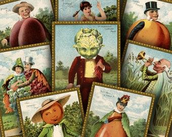 2.5x3.5 inch FRUIT-VEG FOLKS Digital Printable collage sheet for Tags Cards Paper Crafts...Whimsical Fruits & Vegetables