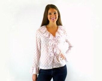 Ruffle Shirt Lavender Polka Dot Vintage 1960s Size Medium