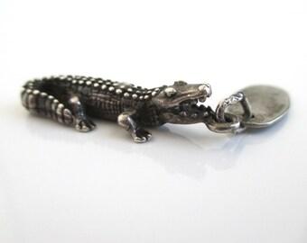 3D Alligator Sterling Silver Charm - Vintage Charm / Pendant, Gatorland, Florida
