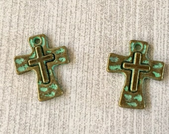 Tiny Crosses Gold with Turquoise GREEN Patina Perfect for Earrings