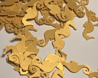 Gold Seahorse Confetti, Seahorse Die Cut, Seahorse Decoration, Beach Wedding Decor, Luau Decorations, Under the Sea Party - 100pcs