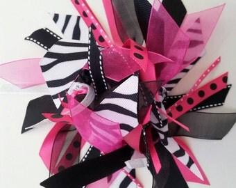 Ponytail Holder / Streamer in Hot Pink, Black, and White