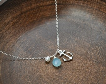 Silver Anchor Charm Necklace-  Anchor Necklace, Silver Necklace, Blue Gemstone Necklace, Nautical Theme, Dainty Necklace, Delicate Jewelry
