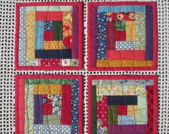 Quilted Fabric Patchwork Coaster Set of 4