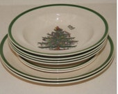 Reserved Listing For Camille - Three Soup Bowls and Two Dessert Plates - SPODE Christmas
