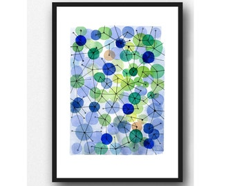 abstract art, watercolor blue green, watercolor painting, constellation, abstract print, large print