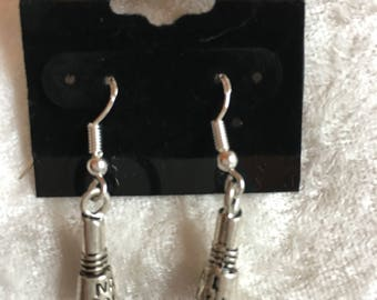 Nail Polish Earrings, Silver Earrings, Dangle Earrings, Beautician Gift, Novelty Earrings, Charm Earrings, Gift for Her, Nail Polish Jewelry