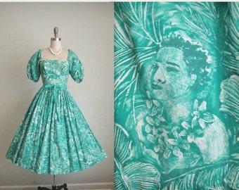 STOREWIDE SALE 50's Kamehameha Dress // Vintage 1950's Kamehameha Novelty Savage Print Teal Hawaiian Cotton Dress