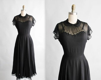 STOREWIDE SALE 40's Dress // Vintage 1940's Black Chiffon Rayon Peekaboo Cocktail Party Evening Swing Dress S M