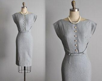 50's Day Dress // Vintage 1950's Grey Twill Fitted Secretary Dress XS