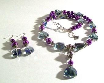 Statement Necklace, Purple Pearl & Purple Rainbow Swarovski Crystal Lariat, Y Necklace, 2 Piece Set