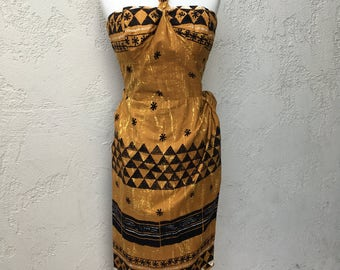 1950s Alfred Shaheen Hawaiian Reverse Halter Tiki Print Sarong Dress