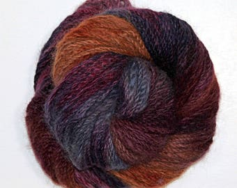"Hand Dyed Yarn handspun Mink ""Carpe that Diem"""