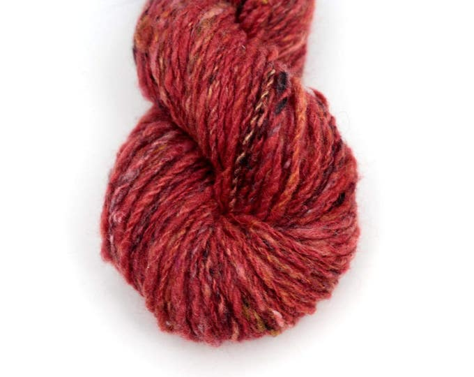 hand dyed yarn Cashmere handspun Red Donegal tweed look worsted 2 ply knitting yarn Mallory