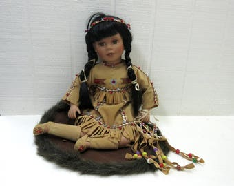 Vintage Native American Indian Girl Porcelain Doll With Dream Catcher