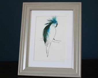 Framed Mini Print Parrot with real feathers