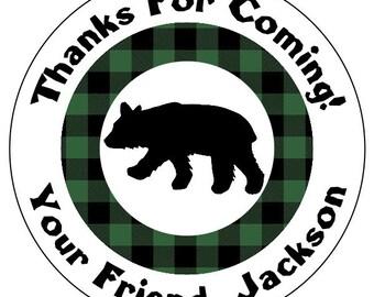 lumberjack birthday stickers, green plaid birthday stickers, bear outdoors birthday labels, green plaid birthday party stickers