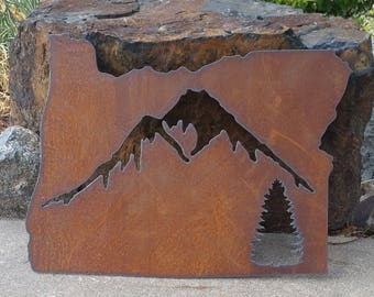Custom State Mountain Tree Sign Oregon large recycled steel rustic wall hanging YOUR state sign ANY state 24 in