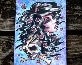 ORIGINAL Painting - Girl With Skull Traditional Tattoo Flash Portrait 5x7 inches