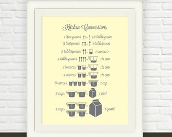 Yellow Grey Measurement Conversion Chart // Instant JPEG Download // Kitchen Art // Ounces to Cups Cups to Pints // Kitchen Print Printable