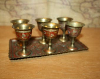 Brass Cups with Tray - Goblets - Etched and Enameled - item #2457
