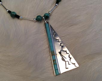 Sterling  Silver Kokopelli and Turquoise Necklace