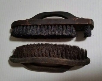 Vintage shoe shine brushes, horsehair brush