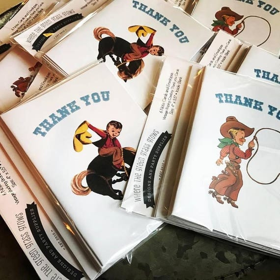 Cowboy Thank you Cards 6 Pack cowboy note cards cowboy birthday