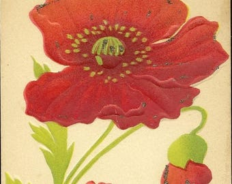Antique Embossed Postcard Red Poppy Bloom With Accents of Glitter – Lovely Unused Tinsel Postcard August Birth Flower